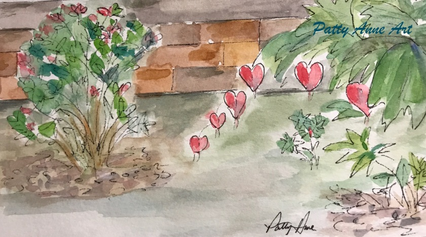 Bleeding Hearts Watercolor picture