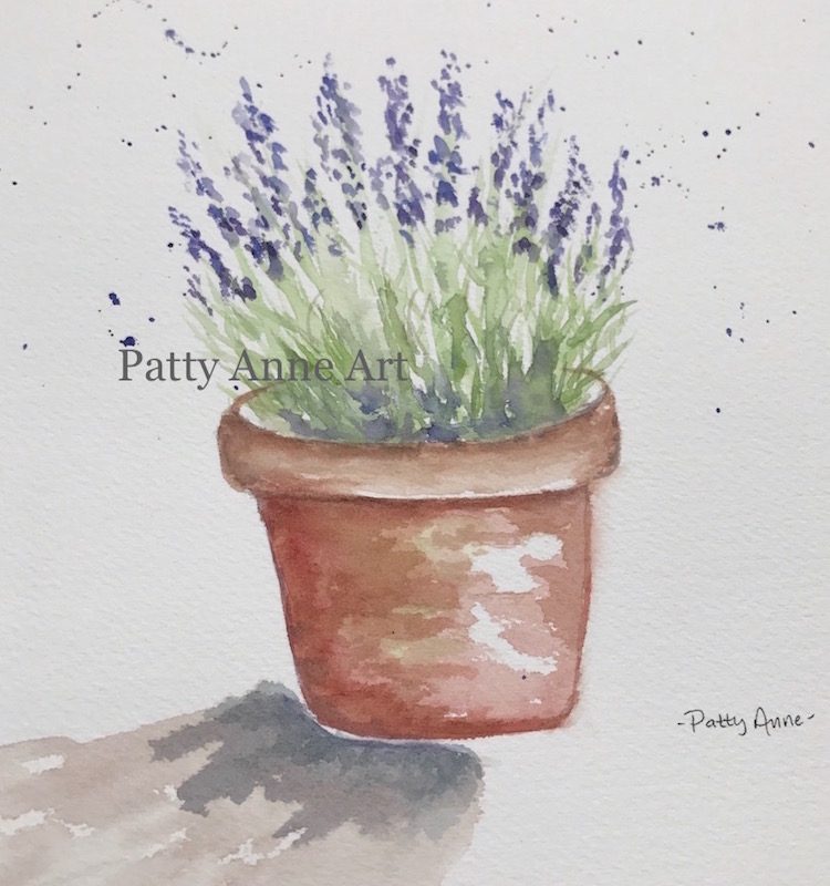 Pot of Lavender watercolor