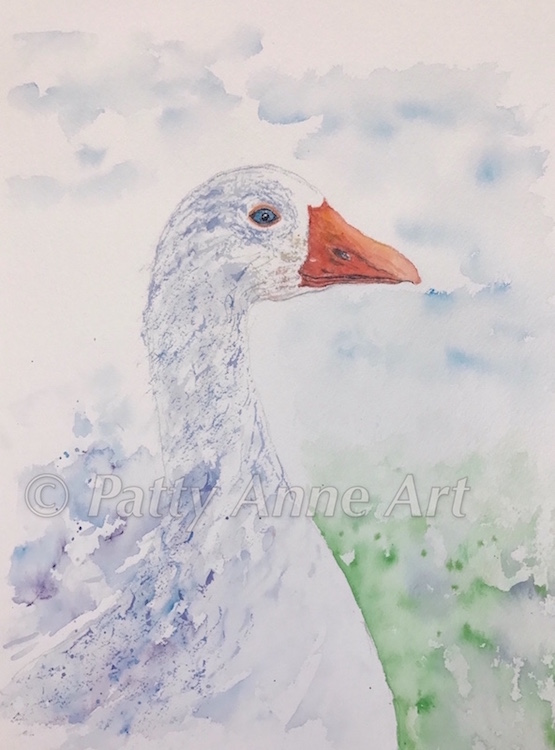 Goose watercolor with background
