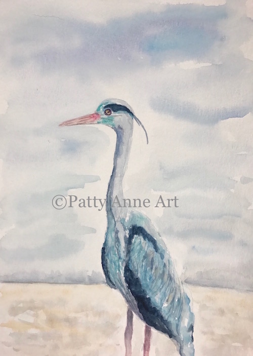 Great Blue Crane watercolor