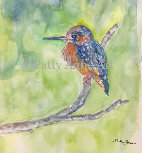 Little Blue Bird watercolor