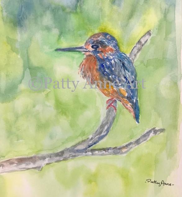 Little Blue Bird watercolor