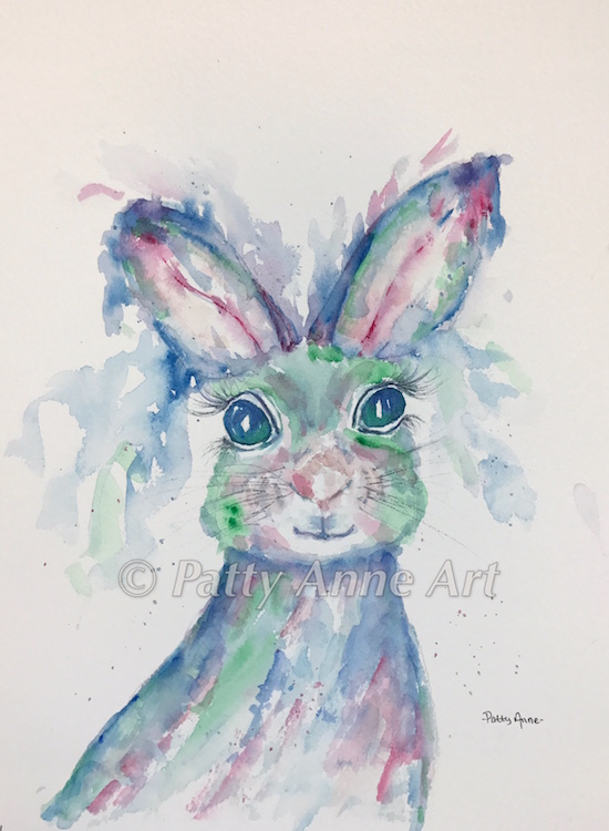 Blue Bunny Girl watercolor