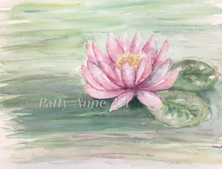 Pink Waterlily watercolor