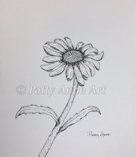 Daisy in ink