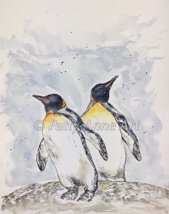 Penguin Buddies - Ink and Watercolor