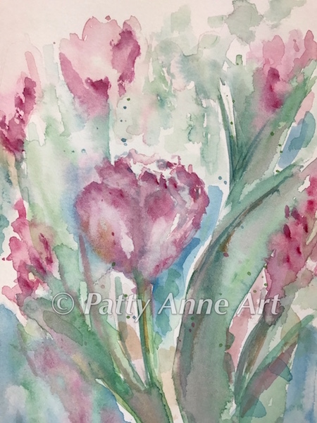 Pink Tulips watercolor