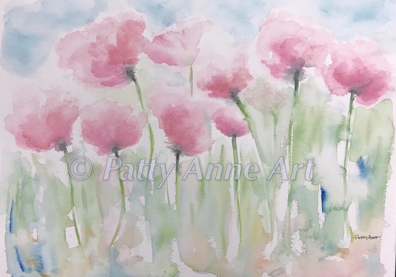 Pink Poppies watercolor