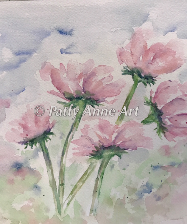 Pink Cosmos watercolor