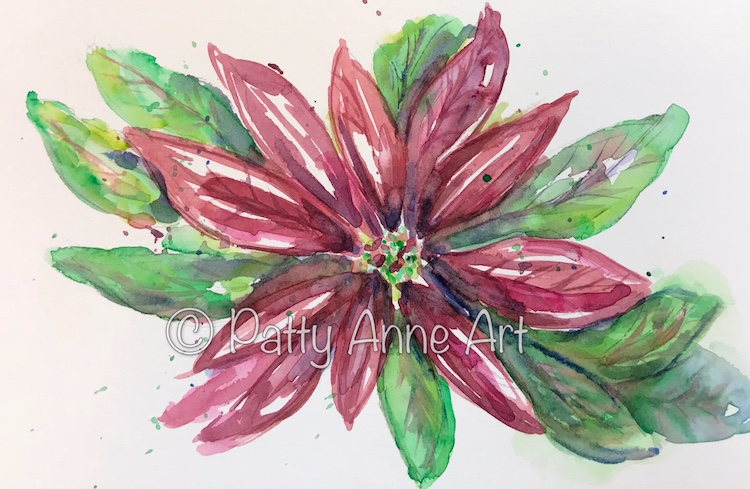 Poinsettia 1 watercolor