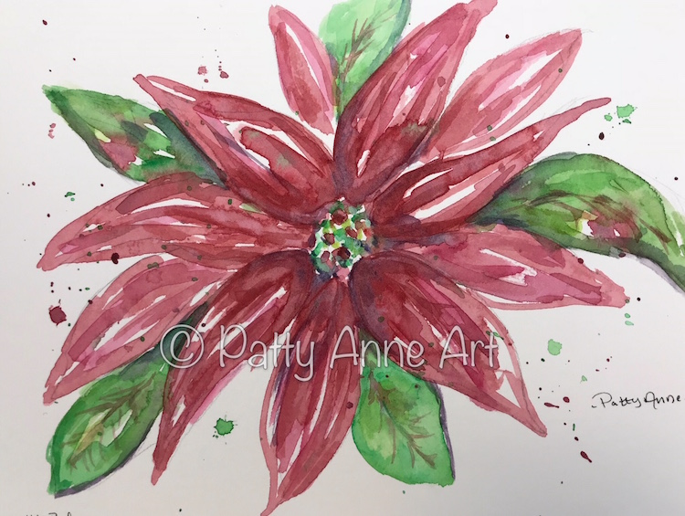 Poinsettia 2 watercolor