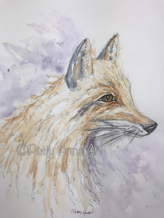 Fox watercolor and ink sketch