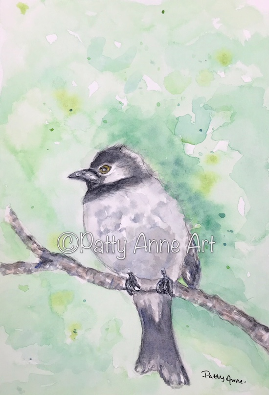 Bird on a branch watercolor