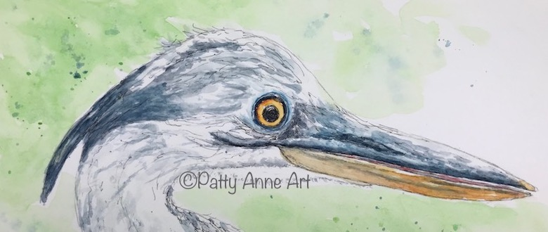Great Blue Heron watercolor