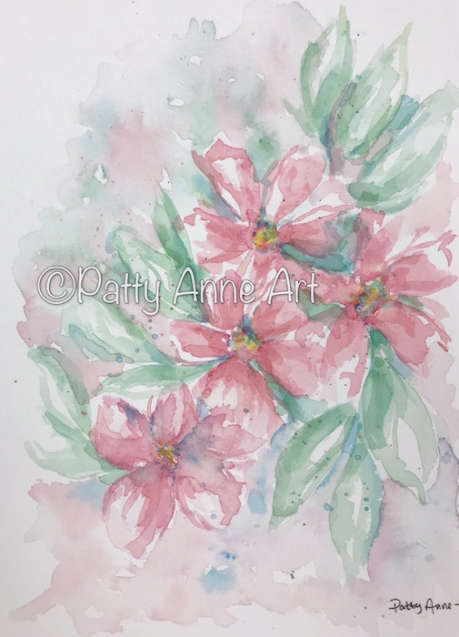 Pink Posies watercolor