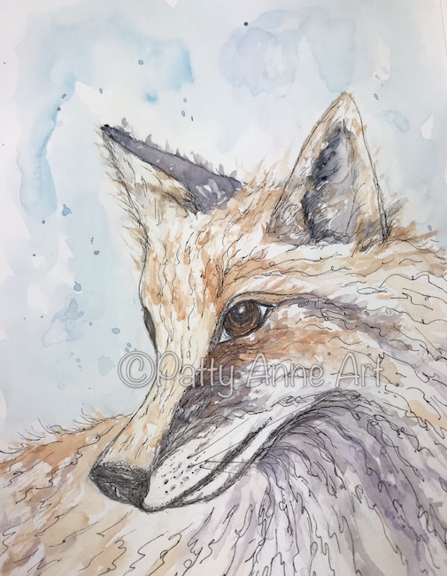 Vixen watercolor and ink