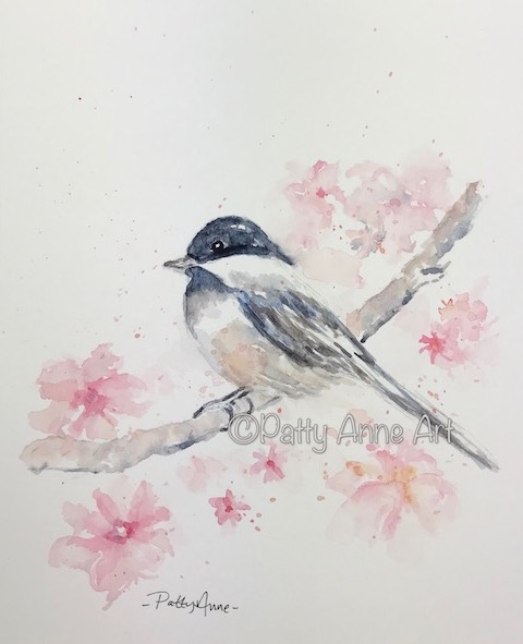 Chickadee and flowers