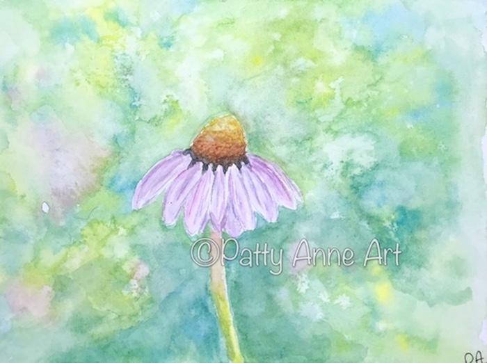 Coneflower watercolor