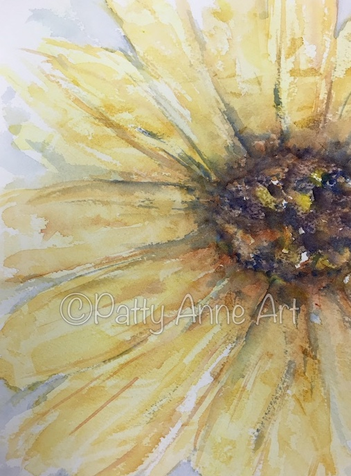 Sunflower watercolor cropped view