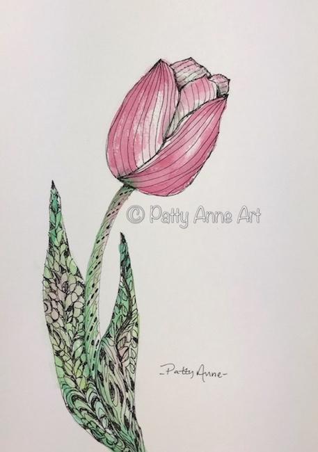Tulip ink & watercolor