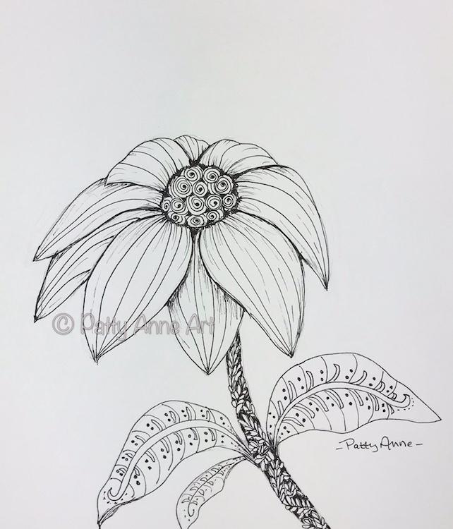 Daisy Doodle ink sketch