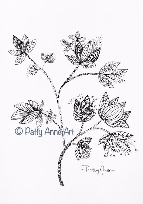 Ink Doodle - Leaves