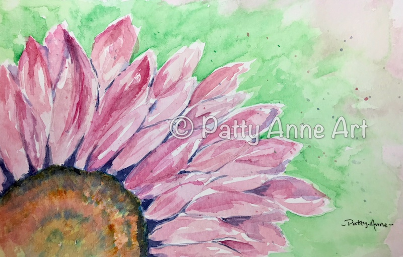 Pink Daisy watercolor