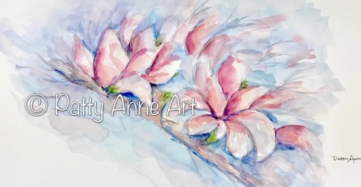 Magnolia branch watercolor