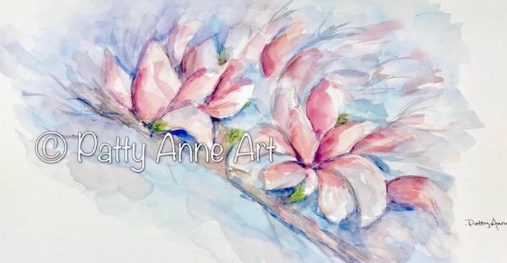 Magnolia branch watercolor