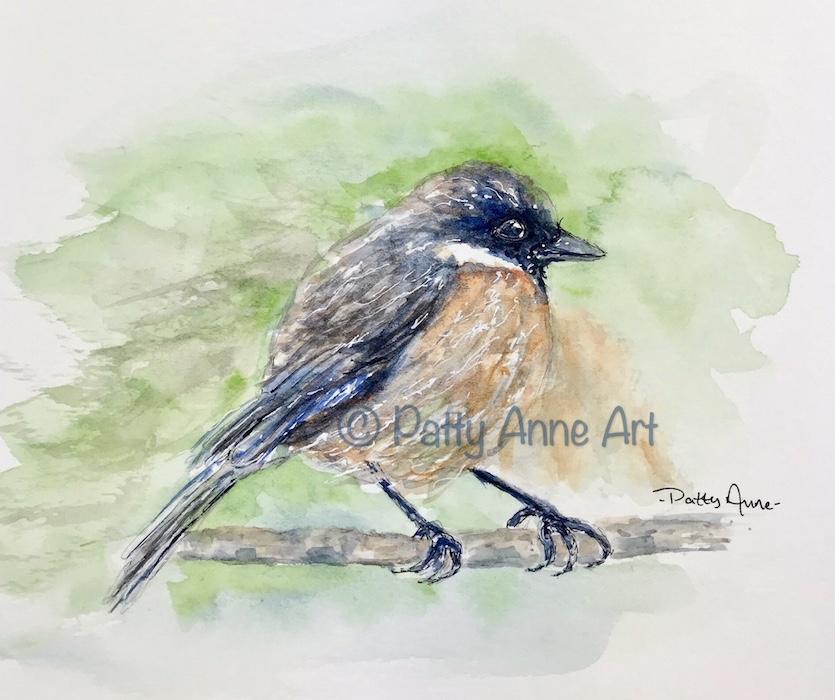 Sweet Birdie watercolor painting