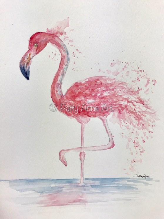 Splashy Pink Flamingo