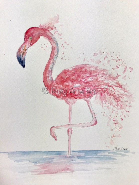 Splashy Pink Flamingo