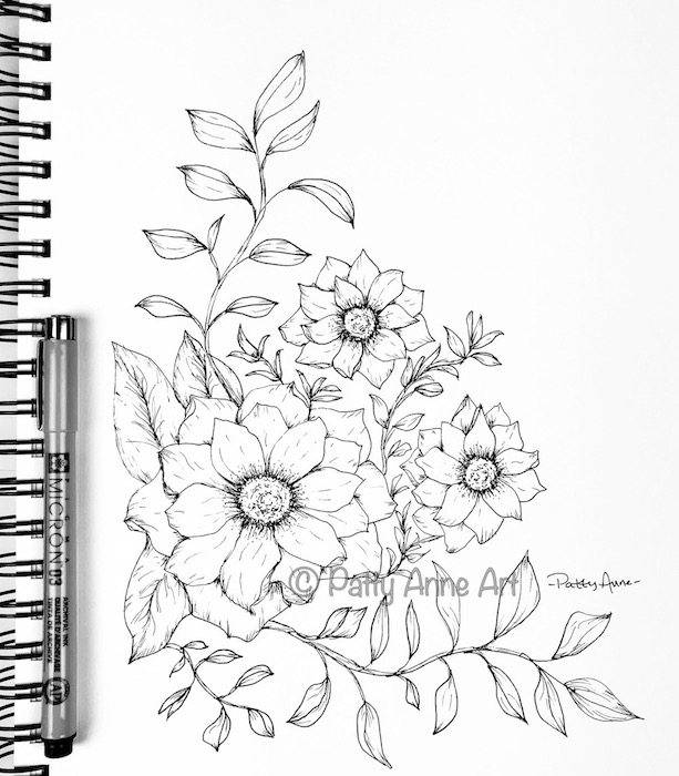 Blooms and Vines sketch with detail