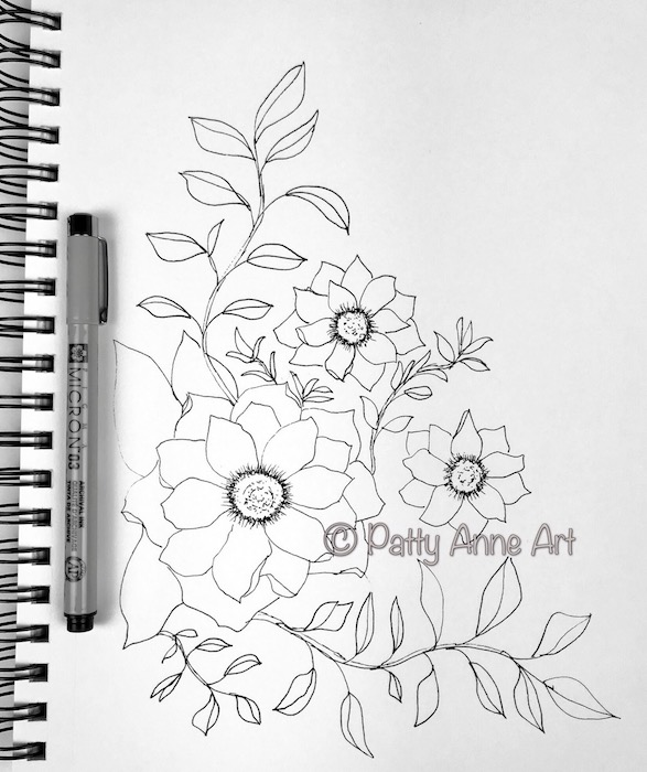 Blooms and Vines sketch