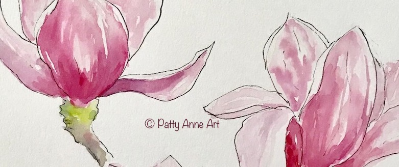 Magnolia watercolor and ink