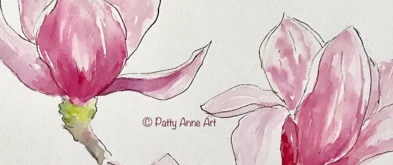 Magnolia watercolor andink