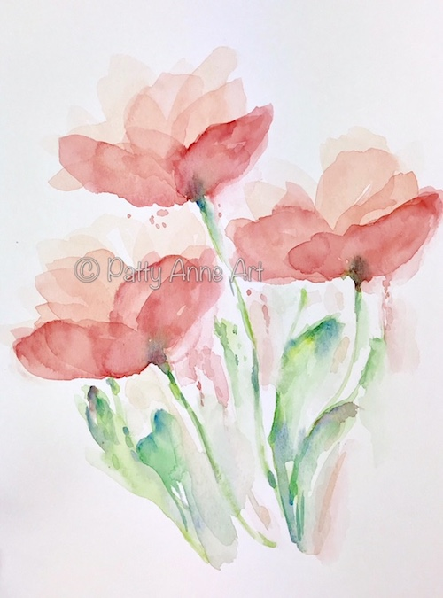 Peachy transparent watercolor flowers