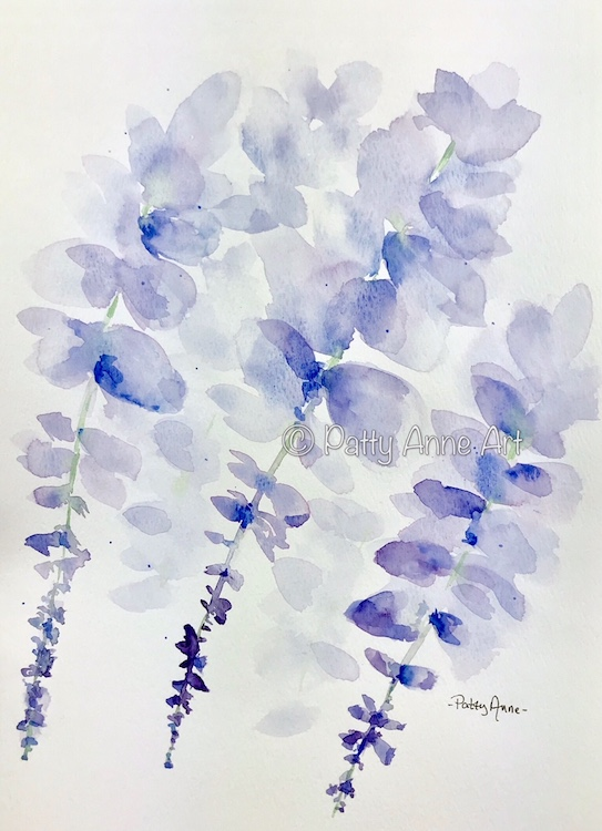Wisteria watercolor painting