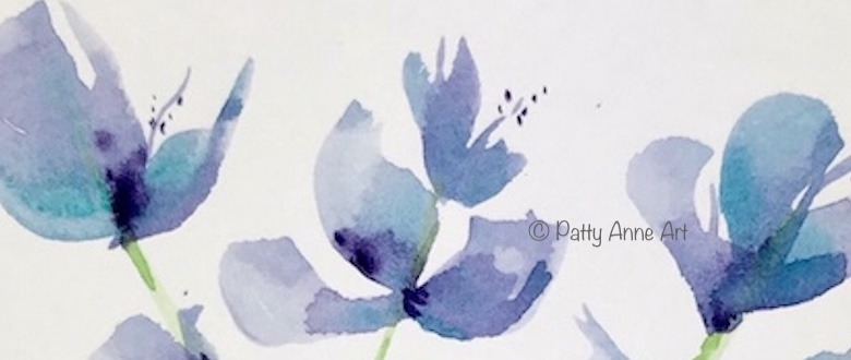 Baby blue flowers watercolor