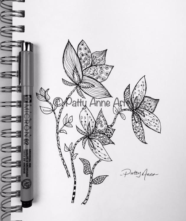 Floral ink doodle