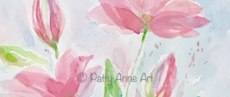 Pop of Pink watercolor flowers