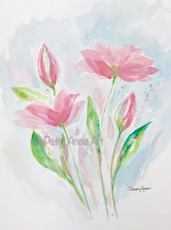 Pop of Pink watercolor flowers