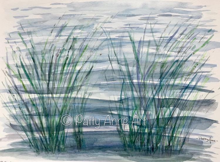Reflection at the shore 2 watercolor