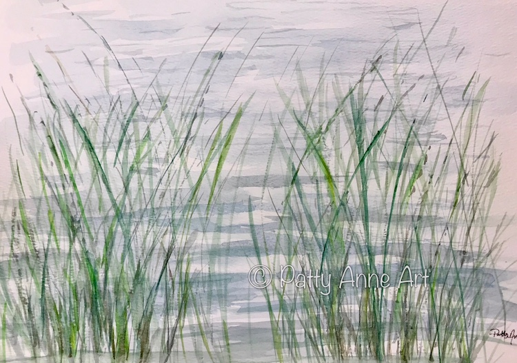 Reflection at the shore watercolor