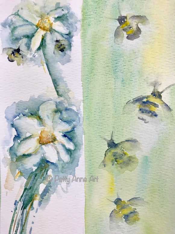 watercolor flowers and bees practice