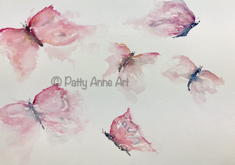 Butterfly watercolor painting practice