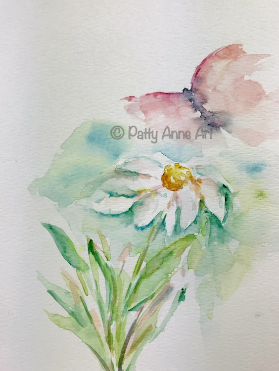 Butterfly and flower watercolor painting