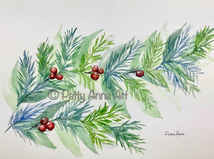Christmas branch watercolor