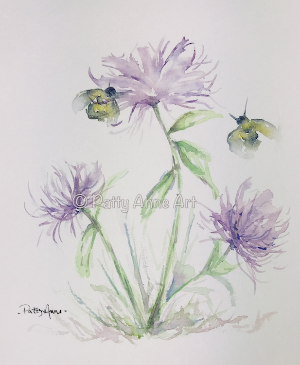 flowers and bees watercolor