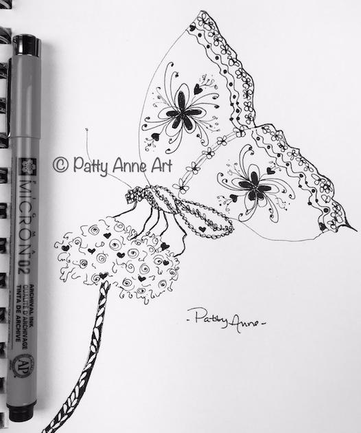 Butterfly doodle sketch in ink